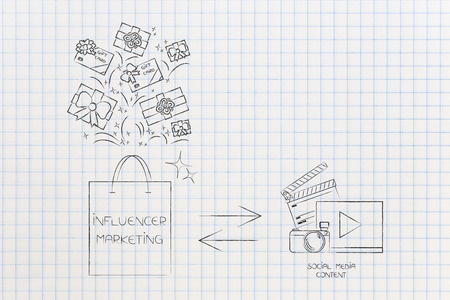 social media marketing conceptual illustration: influencer marketing bag of gifts and digital content being published to promote Stock Photo