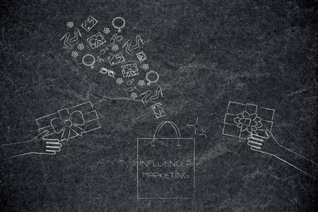 social media marketing conceptual illustration: influencer marketing shopping bag with PR gifts being handed and more presents flying above it Stock Photo
