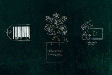 social media marketing conceptual illustration: brand icon and digital content with influencer bag full of gifts in between Stock Photo