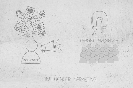 brands working with online marketing conceptual illustration: influencer receiving gifts to attract target audience with megaphone and magnet