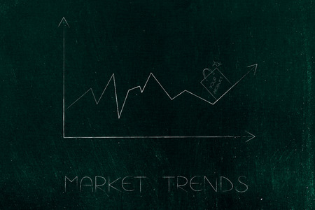 market trends conceptual illustration: stats graph with sales going up and shopping bag on top of the arrow Stock Photo