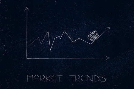 market trends conceptual illustration: stats graph with sales going up and shopping basket on top of the arrow Stock Photo
