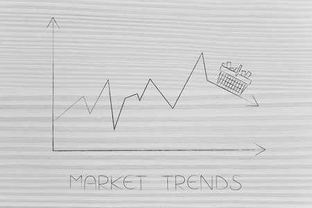 market trends conceptual illustration: stats graph with sales going down and shopping basket on top of the arrow Stock Photo