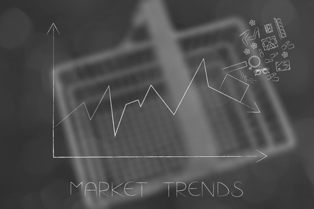 market trends conceptual illustration: stats graph with sales going down and parcel with products on top of the arrow