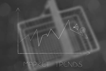 market trends conceptual illustration: stats graph with sales going down and target with arrow missing it on top of the result Stock Photo