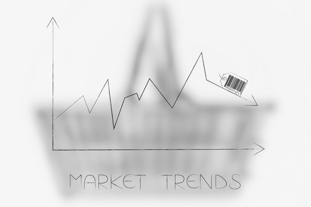 market trends conceptual illustration: stats graph with sales going down and brand label on top of the arrow