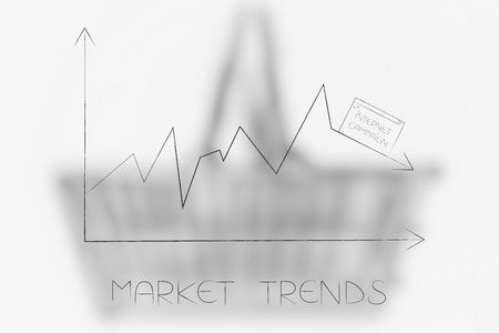 market trends conceptual illustration: stats graph with sales going down and internet campaign pop-up on top of the arrow Stock Photo