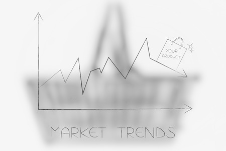 market trends conceptual illustration: stats graph with sales going down and shopping bag on top of the arrow