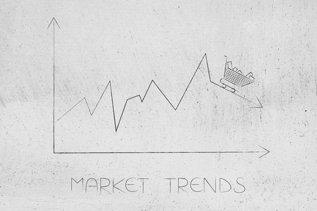 market trends conceptual illustration: stats graph with sales going down and shopping cart on top of the arrow Stock Photo