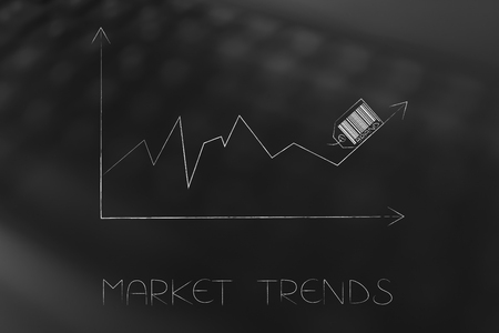 market trends conceptual illustration: stats graph with sales going up and brand label on top of the arrow Stock Photo