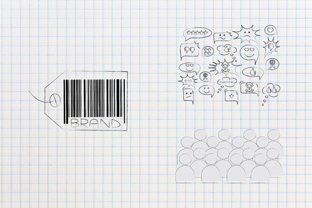 labels and customer loyalty conceptual illustration: brand tag with audience or custmers commenting on it