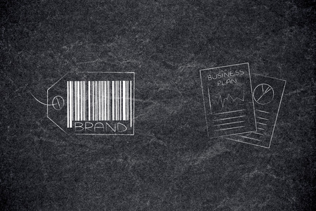 labels and customer loyalty conceptual illustration: brand tag with business plan documents next to it