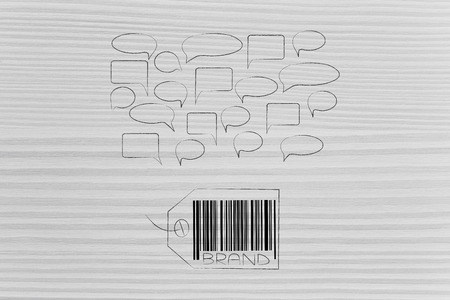 labels and customer loyalty conceptual illustration: brand tag with comments bubbles above it