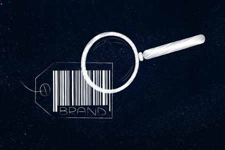 labels and customer loyalty conceptual illustration: brand tag with magnifying glass analysing it
