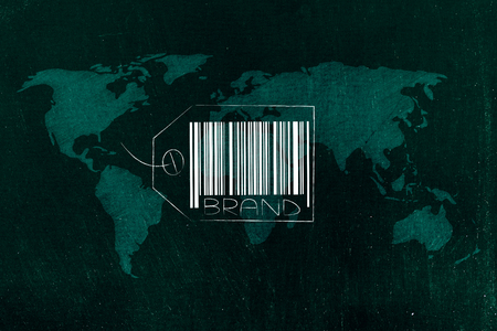 labels and customer loyalty conceptual illustration: global brand with world overlay underneath
