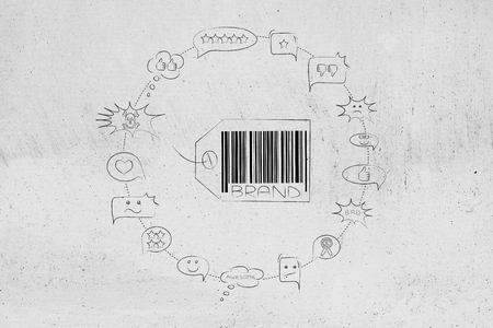 labels and customer loyalty conceptual illustration: brand tag surrounded by audience feedback comments in circle