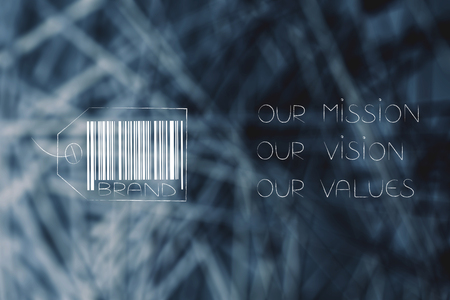 labels and customer loyalty conceptual illustration: brand tag with mission values vision text next to it Stock Photo