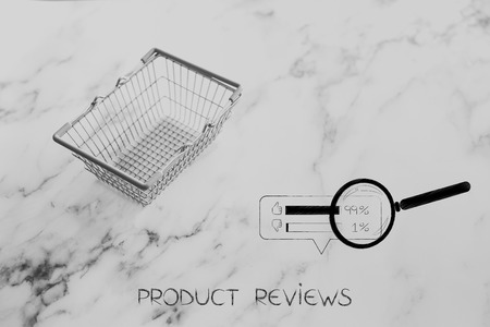 empty grocery store shopping basket on marble surface with customer feedback and magnifying glass next to it