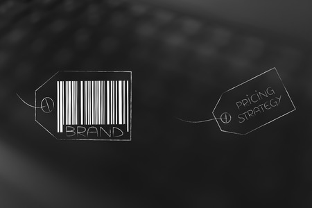 labels and customer loyalty conceptual illustration: brand tag with pricing strategy next to it Stock Photo