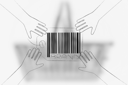 brand image and reputation conceptual illustration: brand label with hands reaching for it