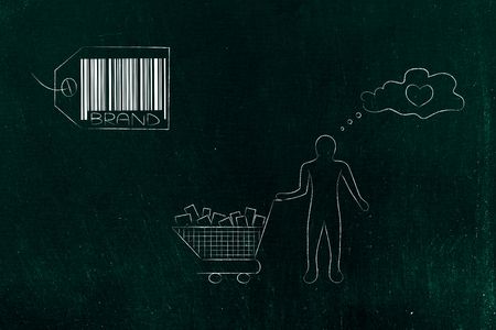 brand image and reputation conceptual illustration: brand label with satisfied customer holding a full shopping basket and with heart icon Stock Photo