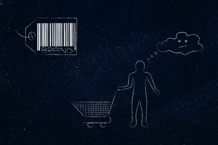 brand image and reputation conceptual illustration: brand label with unsatisfied customer holding emoty shopping basket