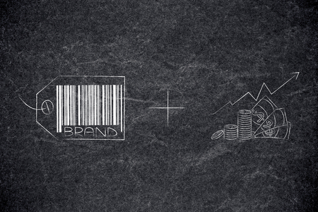 brand image and reputation conceptual illustration: brand strategy label plus profits going up
