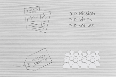 brand image and strategy conceptual illustration: business plan next to mission text pricing policy and target customer icons