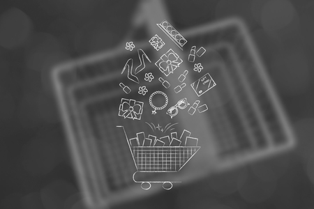 shopping cart with mixed products flying into it, concept of shopping and purchases