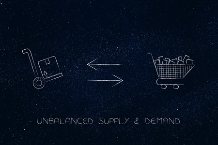 market disequilibrium conceptual illustration: one only parcel and a full shopping cart representing lack of supply compared to demand