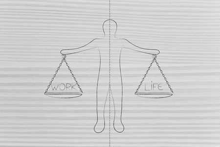 personal priorities conceptual illustration: man with dashed line dividing his work and life balance with both being in equilibrium Stock Photo