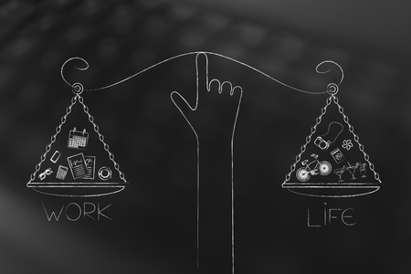 work-life balance conceptual illustration: hand holding unbalanced scale plates with equal amounts of life and work with icons Stock Photo
