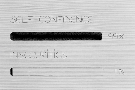 menatl health and positivity conceptual illustration: 99 per cent self- confidence 1 per cent insecurities