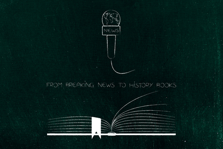 from breaking news to history books conceptual illustration with media microphone and  book