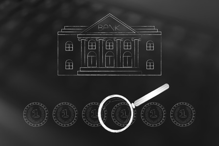 Banking services conceptual illustration: bank building with group of coins and magnifying glass analyzing savings