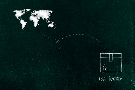 Shipping and handling conceptual illustration: world map with route line and delivery box 写真素材