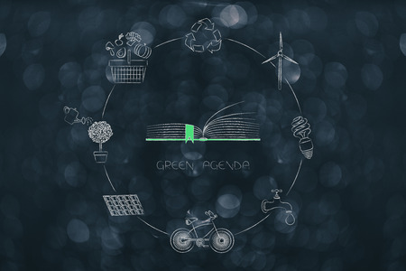 green economy conceptual illustration: corporate green agenda surrounded by ecology-related icons