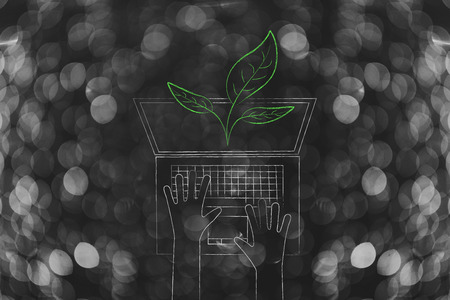 green economy conceptual illustration: leaves popping out of laptop screen with user typing on keyboard