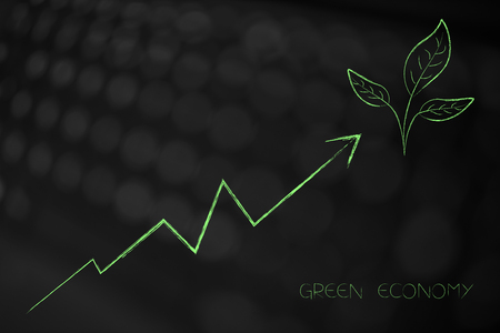 green economy conceptual illustration: positive stats going up with leaves icon