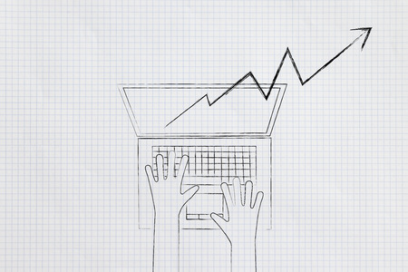 online trading conceptual illustration: laptop with positive stats popping out of the screen and user typing on it