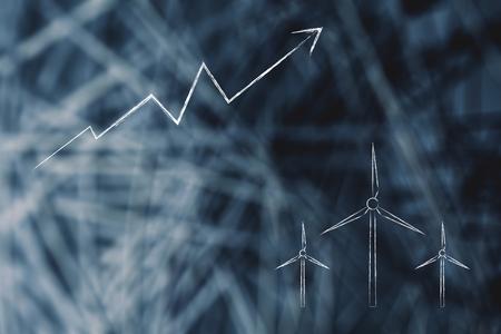 illustration conceptuelle de l'économie verte : statistiques en hausse et icônes d'éoliennes