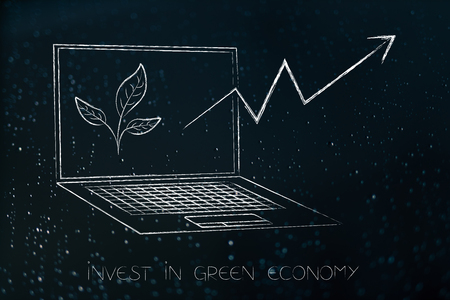 green economy conceptual illustration: laptop with leaves on the screen and investment stats going up Stock Photo