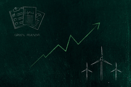 green economy conceptual illustration: green agenda documents with stats going up and wind turbine icons 스톡 콘텐츠