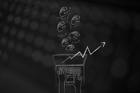 online trading conceptual illustration: laptop with positive stats popping out of the screen and wallets flying out Foto de archivo