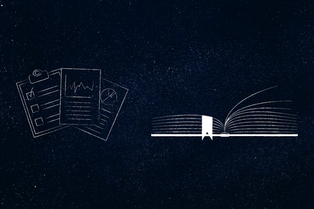 education and knowledge conceptual illustration: open book with studiy notes next to it