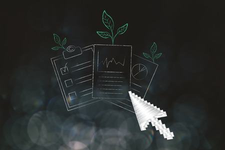 green economy conceptual illustration: business documents with leaves growing out of them and cursor clicking on them