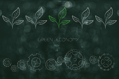 green economy conceptual illustration: mechanism with gearwheels and leaves