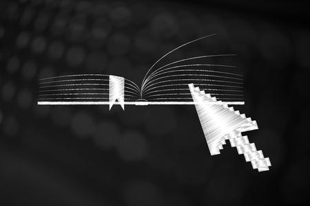 Ilustración conceptual de educación y conocimiento: libro abierto con el cursor del mouse de la computadora haciendo clic en él Foto de archivo