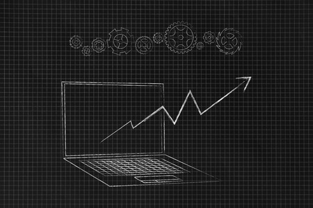 online trading conceptual illustration: laptop with positive stats popping out of the screen and gearwheels above 스톡 콘텐츠