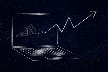 online trading conceptual illustration: laptop with positive stats popping out of the screen and cash on the dispaly